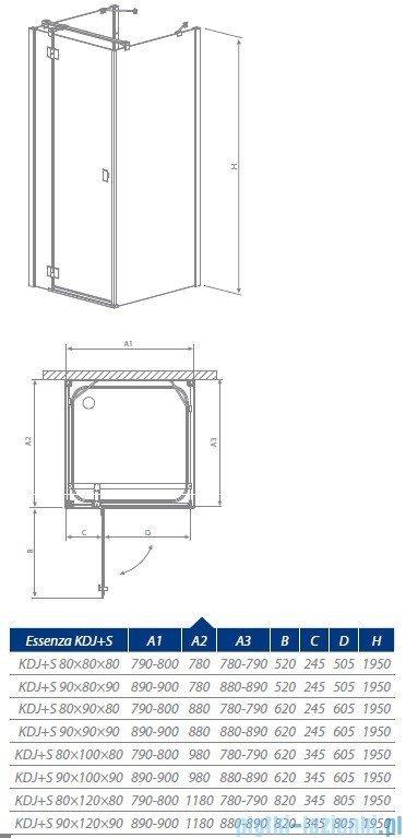 Radaway Essenza KDJ+ S kabina 100x80 lewa szkło przejrzyste 32942-01-01L