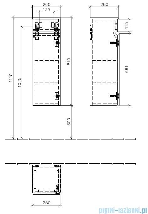 Villeroy&Boch  Memento Szafka boczna zawiasy z lewej strony    C78200FC