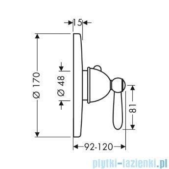 Hansgrohe Axor Carlton Bateria termostatowa podtynkowa High Flow z uchwytem jednoramiennym chrom/złoty 17712090