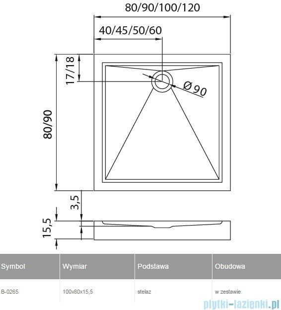 New Trendy Cantare brodzik prostokątny 100x80x15,5cm B-0265