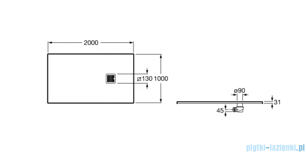Roca Terran 200x100cm brodzik prostokątny konglomeratowy off white AP017D03E801090