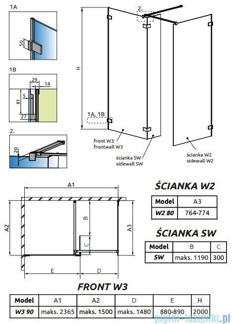 Radaway Euphoria Walk-in III kabina 90x80cm szkło przejrzyste 383131-01-01/383120-01-01/383160-01-01