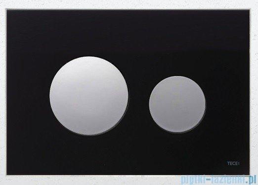 Tece Przycisk spłukujący ze szkła do WC Teceloop, szkło czarne przyciski chrom połysk 9.240.656