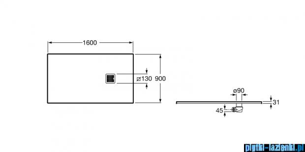 Roca Terran 160x90cm brodzik prostokątny konglomeratowy szary cementowy AP0164038401300