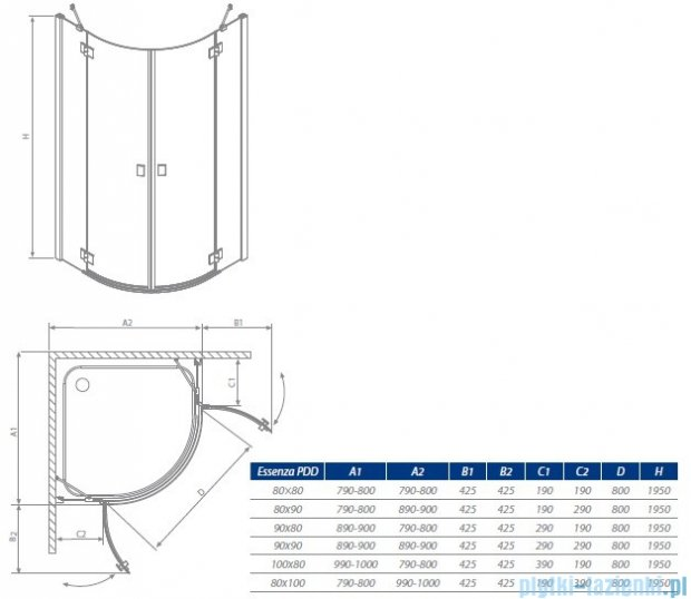 Radaway Essenza PDD kabina 100x80 szkło przejrzyste + Brodzik Patmos E lewy + syfon 32542-01-01N