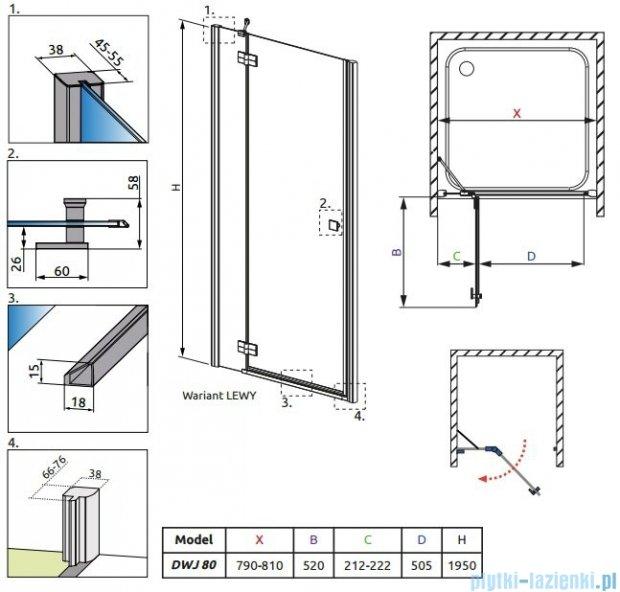 Radaway Almatea DWJ Drzwi wnękowe 80 Lewe szkło grafitowe 30802-01-05N