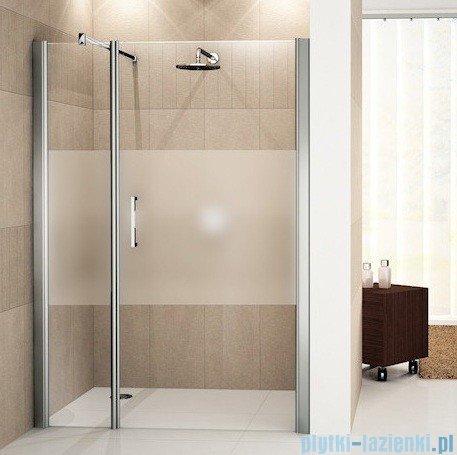 Novellini Drzwi do wnęki z elementem stałym GIADA G+F 144 cm prawe szkło przejrzyste profil srebrny GIADNGF144D-1B