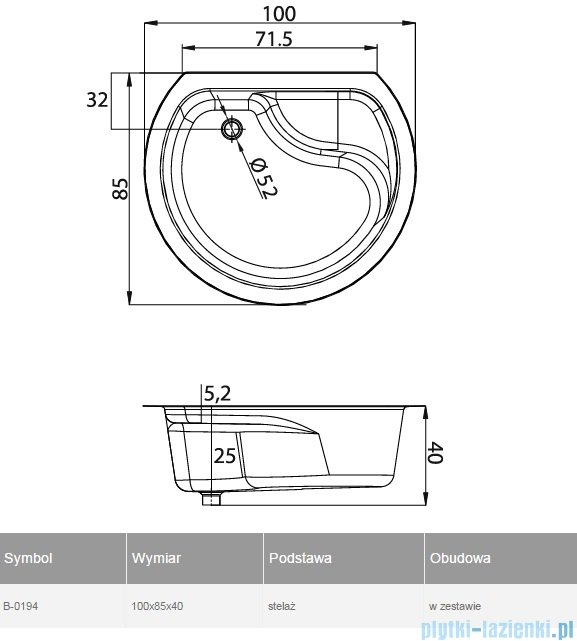 New Trendy Rondo brodzik przyścienny z siedziskiem i obudową 100x85 B-0194