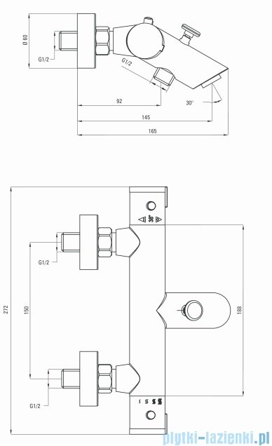 Deante Begonia Bateria wannowa termostatyczna chrom BCB 01BT