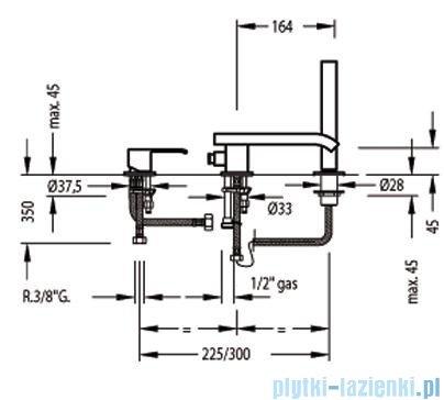 Tres Cuadro-Tres Bateria wannowa 3-otworowa z wylewką typu kaskada z dźwignią 1.06.161.02