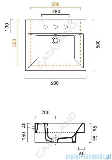 Catalano Zero Nero 60 umywalka 60x50 czarna 16QZENE