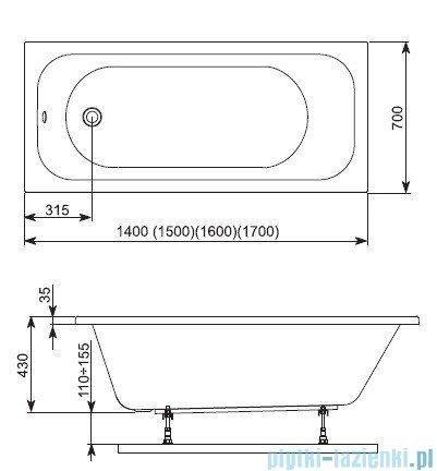 Aquaform Filon wanna prostokątna 160x70cm 243-05244P