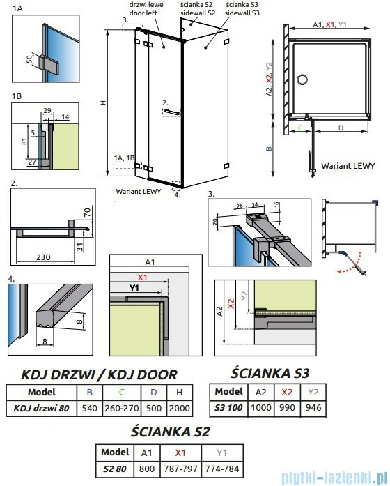 Radaway Euphoria KDJ P Kabina przyścienna 80x100x80 lewa szkło przejrzyste 383043-01L/383031-01/383036-01