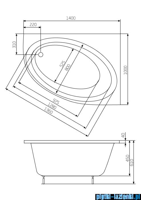 Roca Orbita wanna 140x100cm prawa z hydromasażem Smart WaterAir Plus A24T197000