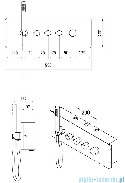Deante Multibox bateria podtynkowa termostatyczna chrom NAC 09CT
