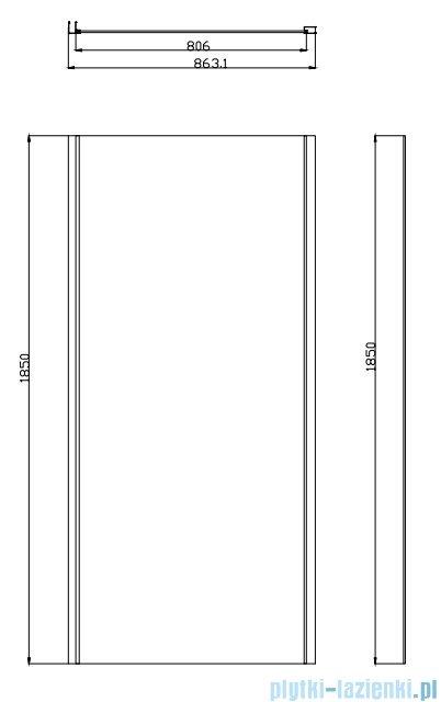 Omnires Bronx ścianka boczna do drzwi prysznicowych 10P 80