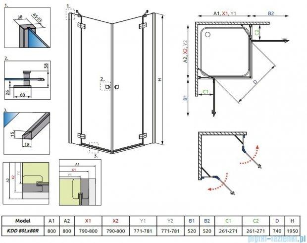 Kabina Radaway Almatea Kdd kwadratowa 80x80 szkło przejrzyste 32162-01-01N