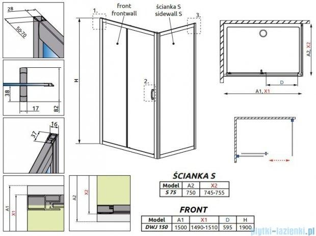 Radaway Premium Plus DWJ+S kabina prysznicowa 150x75cm szkło przejrzyste 33343-01-01N/33402-01-01N