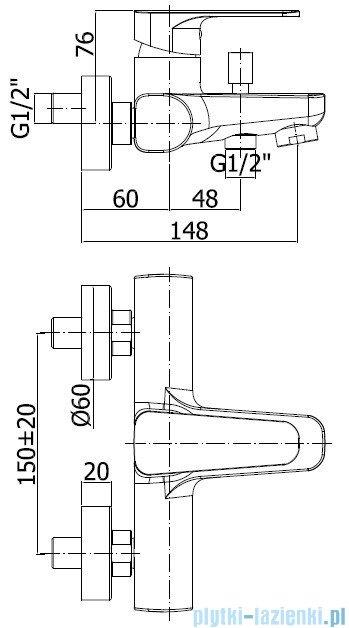 Paffoni Sly Bateria wannowa z kompletem natryskowym chrom SY024CR