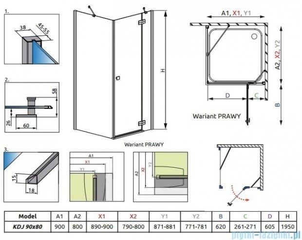 Radaway Kabina prysznicowa Almatea Kdj 90x80 prawa szkło przejrzyste 32148-01-01NR