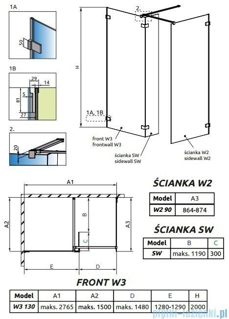 Radaway Euphoria Walk-in III kabina 130x90cm szkło przejrzyste 383135-01-01/383121-01-01/383160-01-01