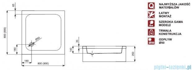 Aquaform Standard brodzik kwadratowy 80x80x25cm na podstawie ze styropianu 18501