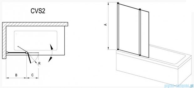 Ravak Chrome Parawan CVS2-100 R biały+transparent, prawy 7QRA0100Z1