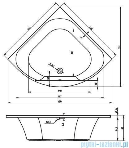 Riho Atlanta Wanna symetryczna 140x140 + nóżki + syfon BB70/07/AMC55