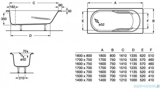 Roca Genova N wanna 170x75cm z hydromasażem Effects Titanium A24T381000
