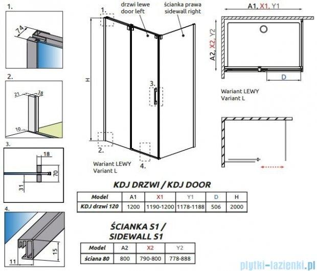 Radaway Espera KDJ Kabina prysznicowa 120x80 lewa szkło przejrzyste + Brodzik Argos D + syfon 380132-01L/380148-01R