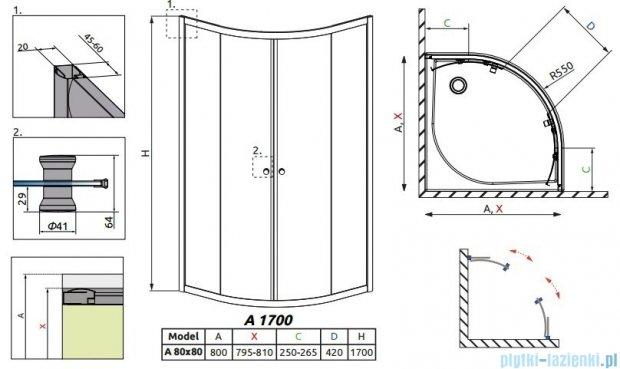 Radaway Classic A Kabina prysznicowa półokrągła z drzwiami przesuwnymi 80x80x170 szkło satinato profile białe 30011-04-02