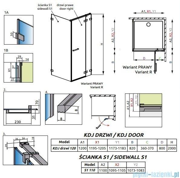 Radaway Euphoria KDJ Kabina prysznicowa 120x110 prawa szkło przejrzyste 383042-01R/383053-01