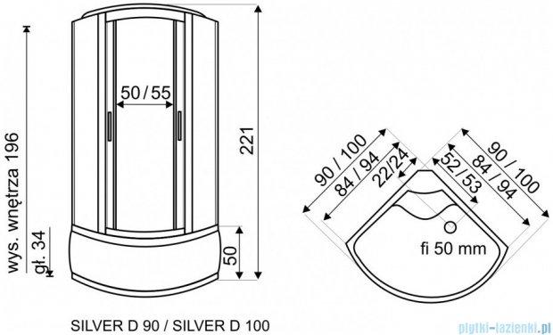 Novoterm Kerra Silver Diamond Kabina natryskowo-masażowa, półokrągła 100x100