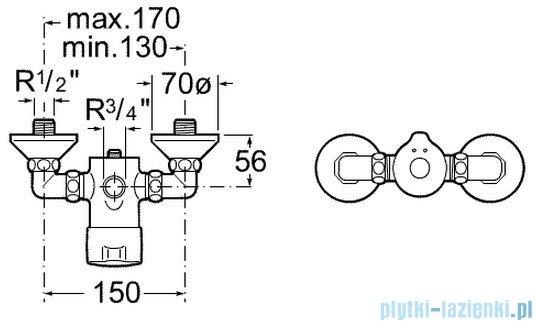Roca Sprint-N Bateria natryskowa ścienna czasowa z regulacją temperatury A5A2117C00