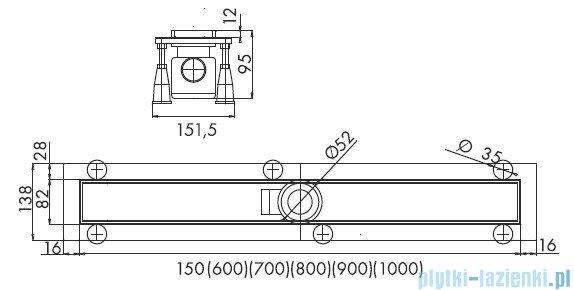 Schedpol odpływ liniowy ruszt chrom połysk 70x8x9,5cm OLCH70/ST