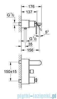 Grohe Veris jednouchwytowa bateria wannowa chrom 32195000