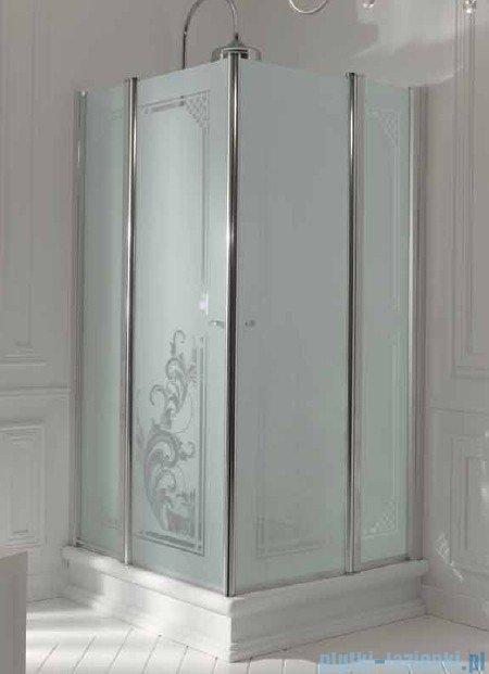 Kerasan Kabina kwadratowa szkło dekoracyjne piaskowane profile złote 100x100 Retro 9148P1