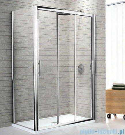 Novellini Drzwi prysznicowe przesuwne LUNES P 126 cm szkło przejrzyste profil srebrny LUNESP126-1B