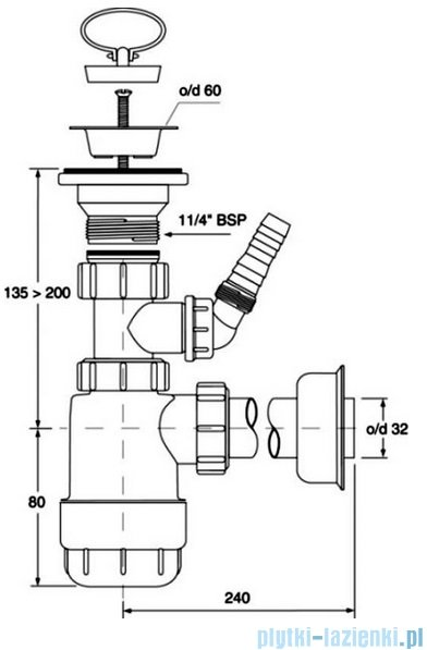McAlpine Syfon umywalkowy butelkowy niski HC1LWM