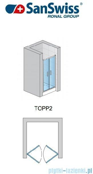SanSwiss TOPP2 Drzwi 2-częściowe 70cm profil połysk TOPP207005007