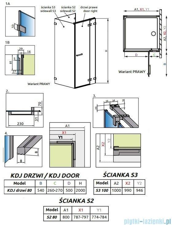 Radaway Euphoria KDJ P Kabina przyścienna 80x100x80 prawa szkło przejrzyste + brodzik Argos D + syfon 383043-01R/383031-01/383036-01/4AD810-01