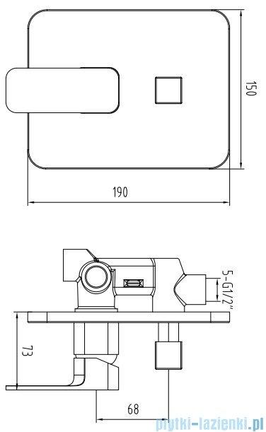 Omnires Apure bateria wannowa podtynkowa chrom AP2235