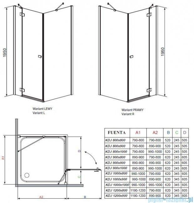 Radaway Kabina prysznicowa Fuenta KDJ 100x80 lewa szkło przejrzyste + Brodzik Argos D + syfon 381043-01L