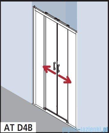 Kermi Atea Drzwi przesuwne bez progu, 4-częściowe, szkło przezroczyste, profile białe 140x185 ATD4B140182AK