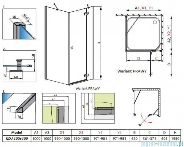 Radaway Kabina prysznicowa Almatea Kdj 100x100 prawa szkło grafitowe 32150-01-05NR