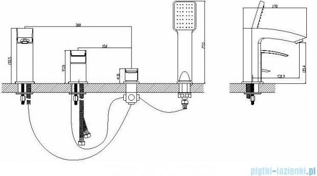Omnires Murray bateria wannowa 4-otworowa chrom MU6132