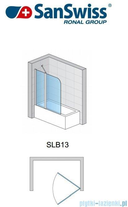 SanSwiss Swing Line SLB13 Parawan dwuczęściowy 120cm profil połysk Lewy SLB13G1205007