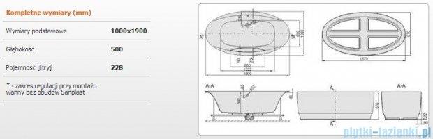 Sanplast Altus Wanna owalna+stelaż+obudowa WOW-kpl-ALT/EX 190x100+SP, 610-120-1370-01-000