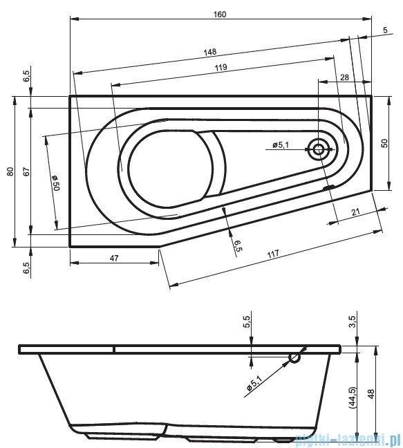 Riho Delta wanna asymetryczna prawa 160x80 z hydromasażem LUX Hydro 4+4+2/Aero11 BB82L8