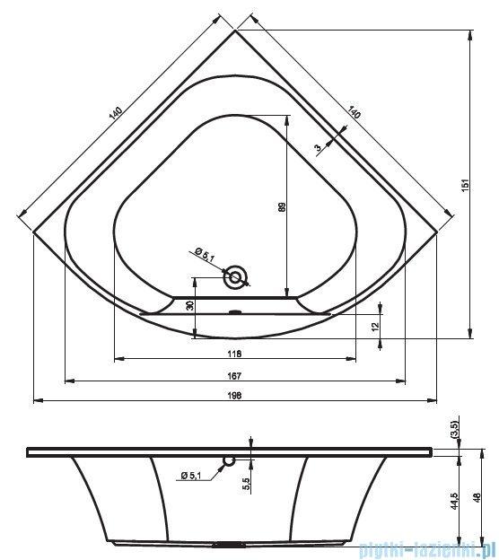 Riho Atlanta wanna symetryczna 140x140 z hydromasażem PRO Hydro 6+4+2/Aero19 BB70P7